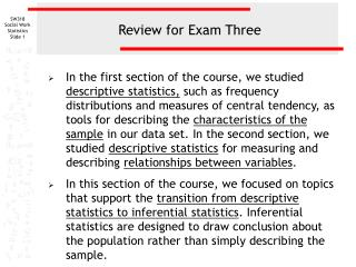 Review for Exam Three