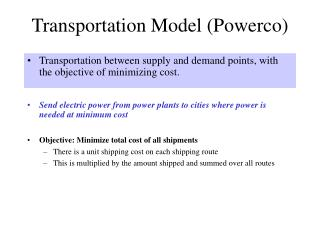 Transportation Model Powerco