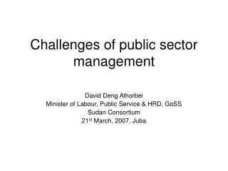 Challenges of public sector management