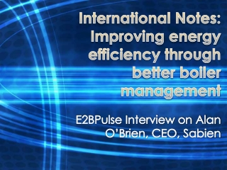 International Notes: Improving energy efficiency
