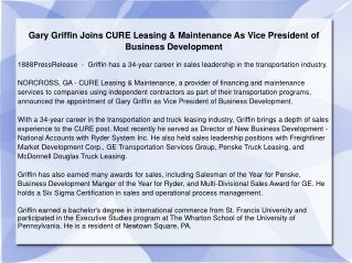 Gary Griffin Joins CURE Leasing