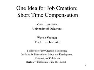 One Idea for Job Creation:  Short Time Compensation