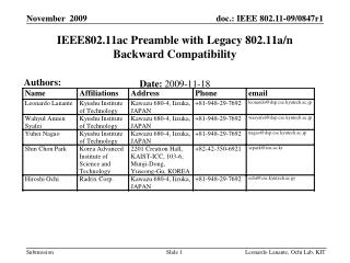 IEEE802.11ac Preamble with Legacy 802.11a