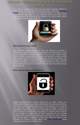 The Most Recommended Way of Unlocking iPhone