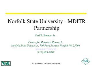 Norfolk State University - MDITR Partnership