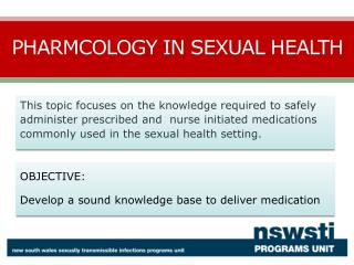 pharmacology in sexual health