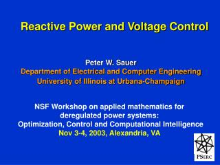 Reactive Power and Voltage Control