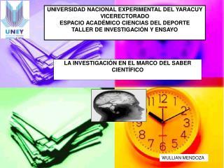 UNIVERSIDAD NACIONAL EXPERIMENTAL DEL YARACUY  VICERECTORADO  ESPACIO ACAD MICO CIENCIAS DEL DEPORTE  TALLER DE INVESTIG