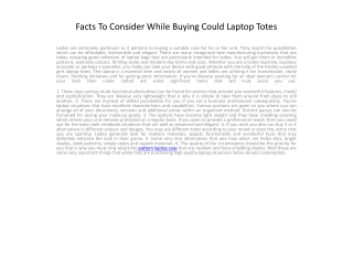 Facts To Consider While Buying Could Laptop Totes