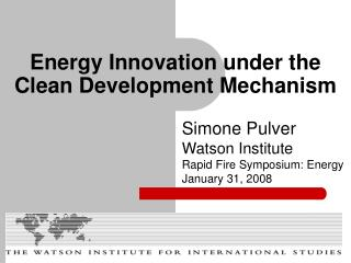 Energy Innovation under the Clean Development Mechanism