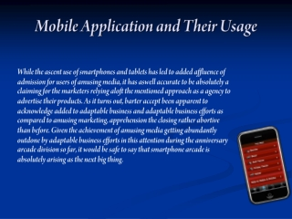 Mobile Applications and their Usage