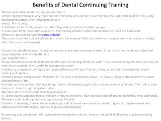 Benefits of Dental Continuing Training