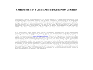 Characteristics of a Great Android Development Company