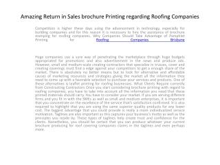 Amazing Return in Sales brochure Printing regarding Roofing