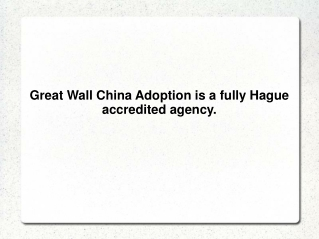 Great Wall China Adoption is a fully Hague accredited agency