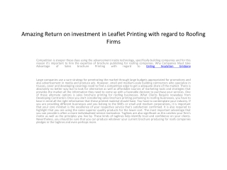 Amazing Return on investment in Leaflet Printing with