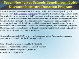 Seven New Jersey Schools Benefit from Bob�s Discount Furnitu