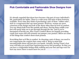 Pick Comfortable and Fashionable Shoe Designs from Vioni