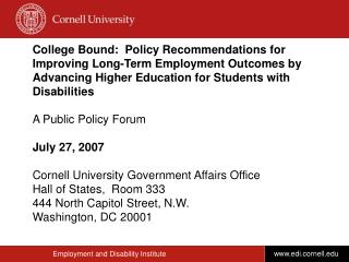 College Bound:  Policy Recommendations for Improving Long-Term Employment Outcomes by Advancing Higher Education for Stu