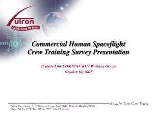 Commercial Human Spaceflight Crew Training Survey Presentation