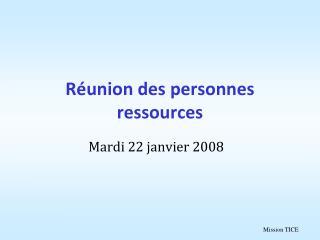 R union des personnes ressources