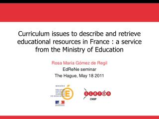 Curriculum issues to describe and retrieve educational resources in France : a service from the Ministry of Education