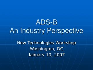 ADS-B  An Industry Perspective