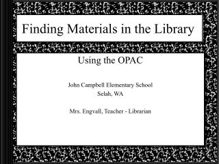Finding Materials in the Library
