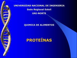 UNIVERSIDAD NACIONAL DE INGENIERIA Sede Regional Estel  UNI-NORTE   QUIMICA DE ALIMENTOS                    PROTE NAS