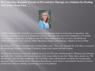 dr. carol ray reminds parents of preventative therapy