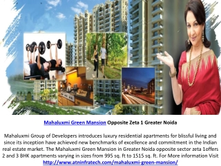 Mahaluxmi Green Mansion 2 BHK Flats Call  91-8471023000