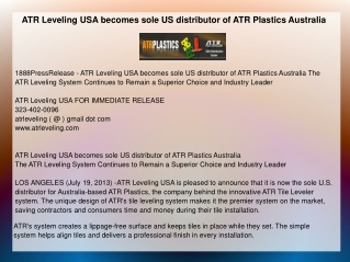 ATR Leveling USA becomes sole US distributor of ATR Plastics