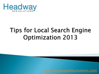 Tips for Local Search Engine Optimization 2013