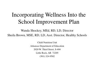 Incorporating Wellness Into the School Improvement Plan