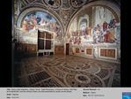 Title:  Stanza della Segnatura, Vatican, Rome.  Right:Philosophy, or School of Athens, with Plato and Aristotle;left: ov