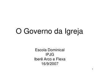 O Governo da Igreja