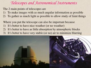 Telescopes and Astronomical Instruments