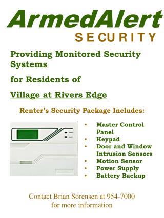 Providing Monitored Security Systems  for Residents of  Village at Rivers Edge
