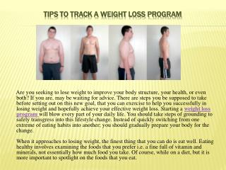 tips to track a weight loss program
