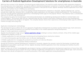 Carriers of android application development services for sma