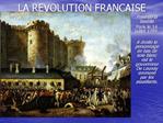 LA REVOLUTION FRAN AISE