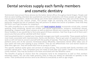 Dental services provide