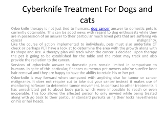 Cyberknife Treatment For Dogs and cats
