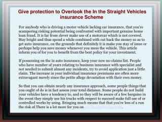 Give protection to Overlook the In the Straight Vehicles in