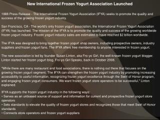 New International Frozen Yogurt Association Launched