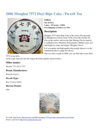 2006 Menghai 7572 Dayi Ripe Cake