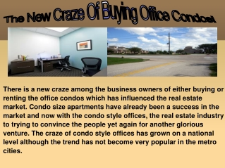 The New Craze Of Buying Office Condos!