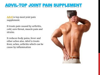 Advil- Top joint pain supplement.