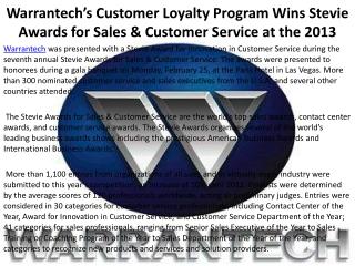 Warrantech�s Customer Loyalty Program Wins Stevie Awards for