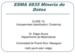 ESMA 6835 Mineria de Datos